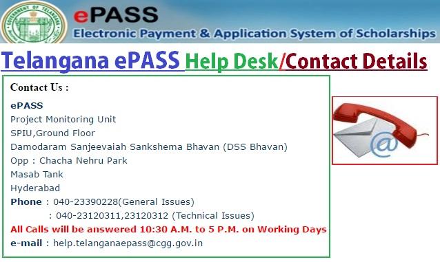 Telangana-ePASS-Contact-Details