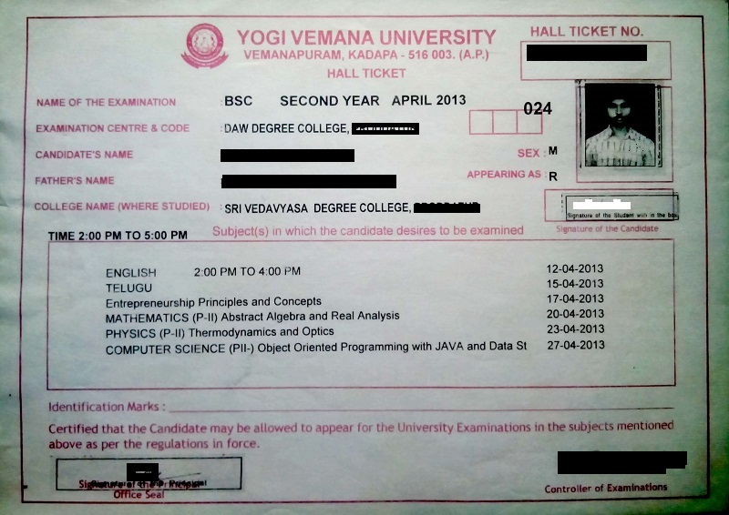 Yvu Degree Ug Main Exams April 2019 Hall Tickets Not Available To Download Online