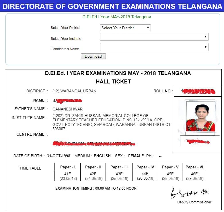 Telangana-DELED-1st-Year-Hall-Tickets-May-2018