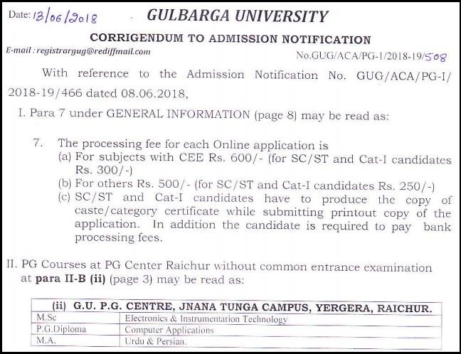 Gulbarga-University-PG-Admissions-2018-Notification