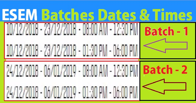 ESEM-Batches-Dates-Timings-Select