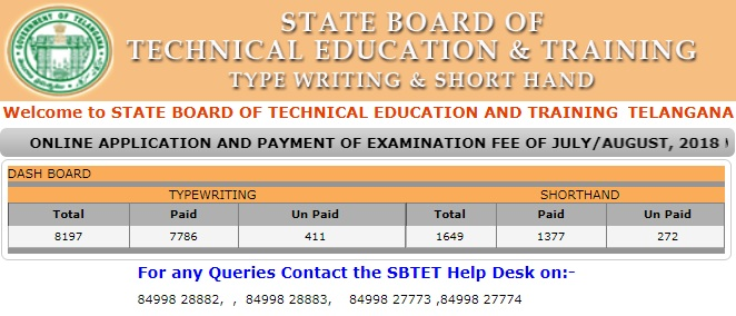 TS SBTET Typewriting & Shorthand Exams August 2019 Time Table PDF