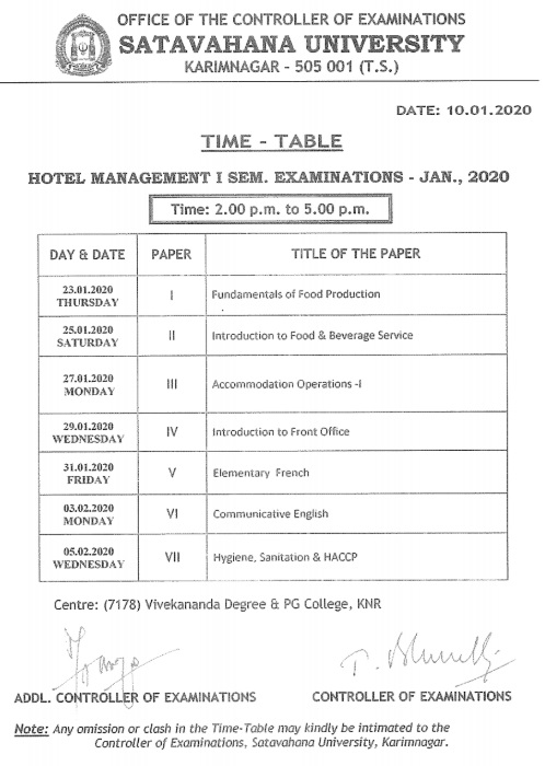 Satavahana-University-BHMCT-Time-Table-2020